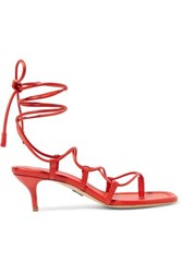 Paul Andrew Wrap It Up Leather Sandals Red