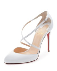 Christian Louboutin Crossbreche Leather Red Sole Pump Latte White