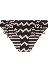 Stella Mccartney Drawstring Tunnels Printed Bikini Briefs Black