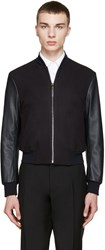 Paul Smith Navy Wool And Leather Bomber Jacket