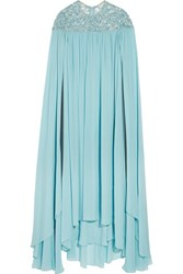 Elie Saab Sequined Silk Blend Georgette Gown Light Blue