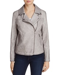 Bagatelle Trapunto Quilted Faux Leather Moto Jacket Grey