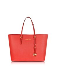 Michael Kors Jet Set Travel Coral Saffiano Leather Top Zip Tote