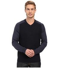 Perry Ellis Color Block V Neck Sweater Dark Sapphire Men's Sweater Blue