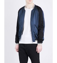 Sandro Striped Trim Satin Bomber Jacket Navy Blue