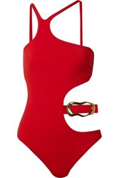 Agent Provocateur Sierah Embellished Cutout Swimsuit Red