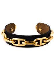 Hermes Vintage Chain Detail Bangle Black