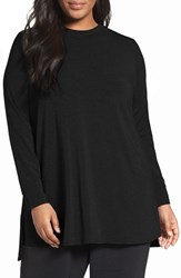 Eileen Fisher Plus Size Women's Stretch Tencel Lyocell Jersey Tunic Charcoal