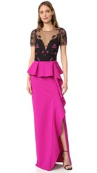 Marchesa Draped Cap Sleeve Gown Fuchsia