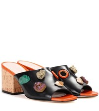 Christopher Kane Embellished Leather Sandals Black