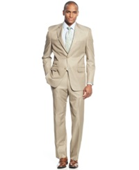 Sean John Big And Tall Classic Fit Tan Solid Suit