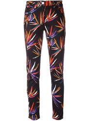 Emilio Pucci Leaves Print Stretch Jeans Black