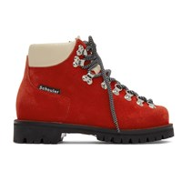 Proenza Schouler Red Lace Up Hiking Boots