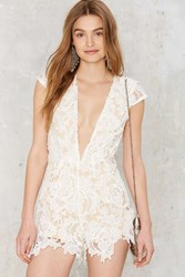 Take It To Heart Lace Romper White