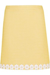 Boutique Moschino Appliqued Honeycomb Knit Mini Skirt Pastel Yellow