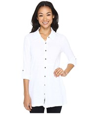 Mod O Doc Slub Jersey Button Up Long Sleeve Shirt White Women's Clothing