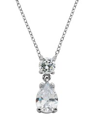 Lord And Taylor Sterling Silver Cubic Zirconia Necklace With Teardrop Crystal