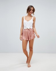 Y.A.S Frill Pyjama Shorts Cafe Creme Pink