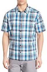 Men's Patagonia 'Puckerware' Regular Fit Check Short Sleeve Sport Shirt Underwater Blue