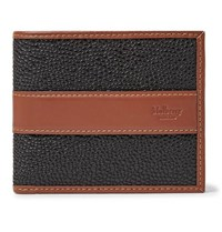 Mulberry Leather Trimmed Pebble Grain Coated Canvas Billfold Wallet Black