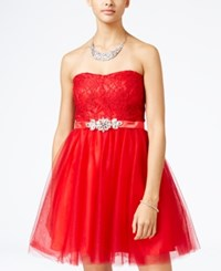 Crystal Doll Juniors' Lace Tulle Fit And Flare Dress Red
