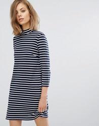 Wood Wood Mary Stripe Dress Navy Off White