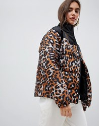 Daisy Street Padded Jacket With Ring Pull In Leopard Print Brown