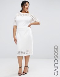 Asos Curve Cage Insert Bodycon Dress Cream