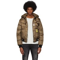 R 13 R13 Tan And Black Leopard Down Jacket
