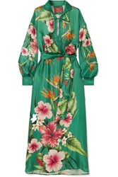 F.R.S For Restless Sleepers Anfitrite Floral Print Satin Jacquard Maxi Dress Green