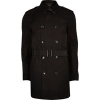 River Island Mens Black Double Breasted Smart Belted Mac