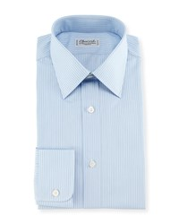 Charvet Striped Dress Shirt Blue