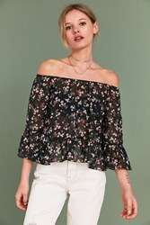 Pins And Needles Ditsy Floral Off The Shoulder Top Black