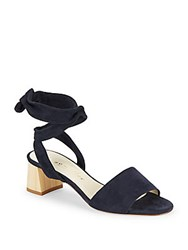 Bettye Muller Leather Block Heel Sandals Navy