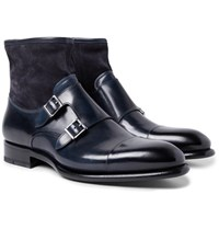 Santoni Cap Toe Leather And Suede Monk Strap Boots Navy
