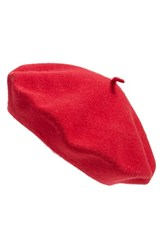 Women's Parkhurst 'Classic' Wool Beret Purple Scarlet Red
