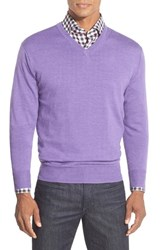 Men's Peter Millar Merino V Neck Sweater Fog
