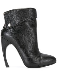 Alexander Mcqueen Folded Panel Ankle Boots Black