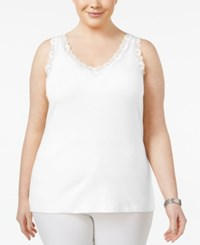 Karen Scott Plus Size Cotton Lace Trim Tank Only At Macy's Bright White