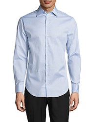 Giorgio Armani Regular Fit Solid Cotton Button Down Shirt Blue Mist
