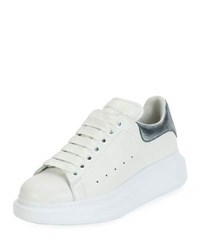 Alexander Mcqueen Lace Up Low Top Wedge Sneaker White Gray White Gray