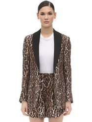 R 13 Leopard Print Silk And Viscose Blazer