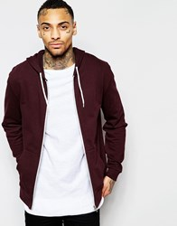 Asos Zip Up Hoodie In Burgundy Purple