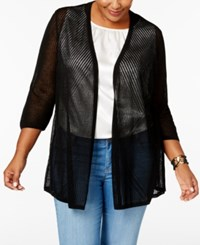 Charter Club Plus Size Pointelle Cardigan Only At Macy's Deep Black