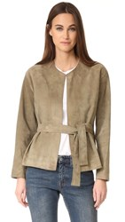 Vince Suede Belted Jacket Pebble Taupe