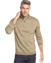 John Ashford Solid Quarter Zip Pullover Oatmeal Heather