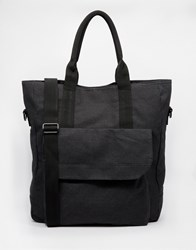 Asos Tote Bag In Black Washed Canvas