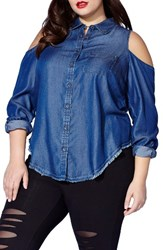 Mblm By Tess Holliday Plus Size Women's Chambray Cold Shoulder Shirt