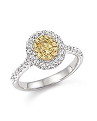 Bloomingdale's Yellow And White Diamond Oval Ring In 18K White And Yellow Gold Multi Gold