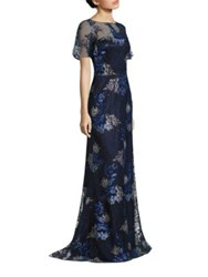 David Meister Embroidered Metallic Evening Gown Navy Silver